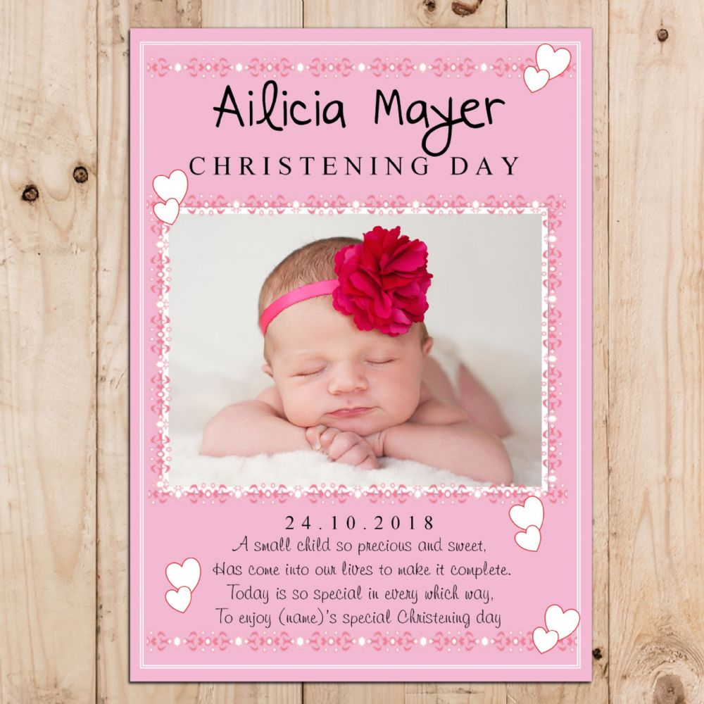 Personalised Girls Pink Christening Baptism Party PHOTO